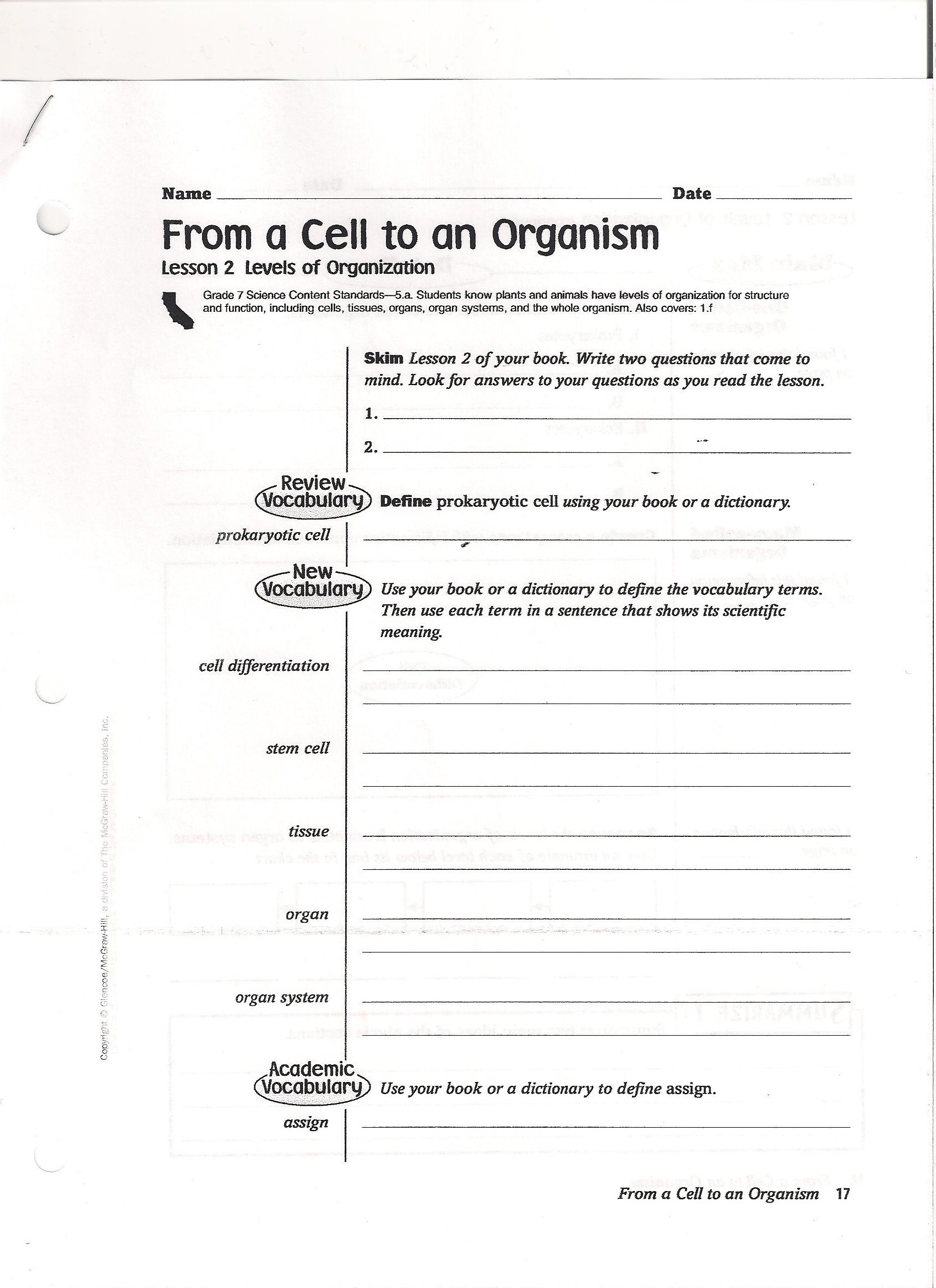 Worksheets Heredity Worksheets 7th grade science mrs winters7th and 8th from cell to organism packet pg 1